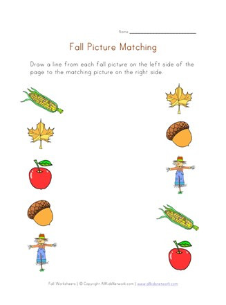 Fall Worksheets for Kindergarten Fall Picture Matching Printable