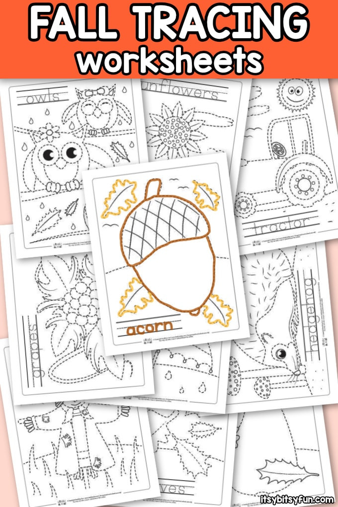 Fall Worksheets for Kindergarten Fall Tracing Worksheets Itsybitsyfun