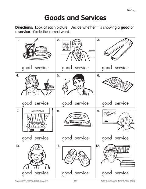 First Grade History Worksheets Education World Goods and Services