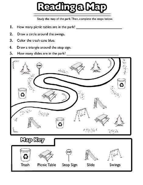 First Grade History Worksheets Reading A Map