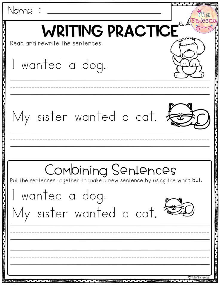 First Grade Sentence Worksheets Free Writing Practice Bining Sentences