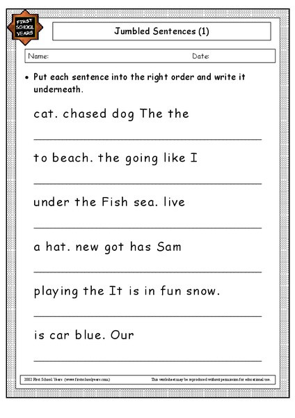 First Grade Sentence Worksheets Sentences Lessons Tes Teach