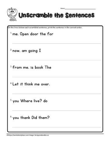 first grade scrambled sentences 2