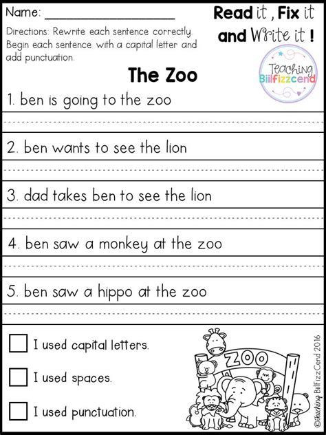 First Grade Sentence Writing Worksheets Best 25 Simple Sentences Worksheet