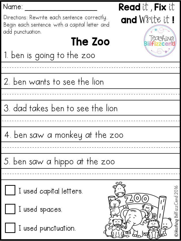 First Grade Sentence Writing Worksheets Free Fix It Up Sentences In 2020