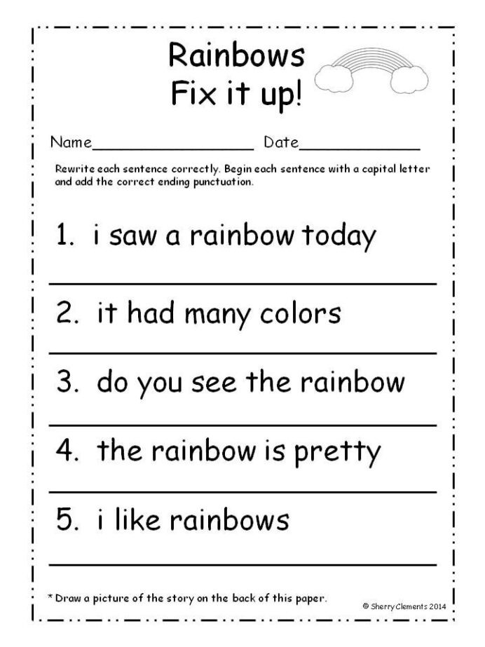 First Grade Sentence Writing Worksheets March Fix It Up Sentences First Grade Writing Matter