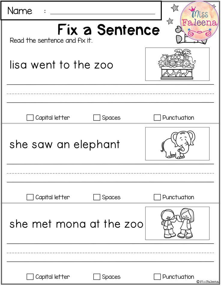 First Grade Sentence Writing Worksheets May Reading and Writing Practice Dengan Gambar