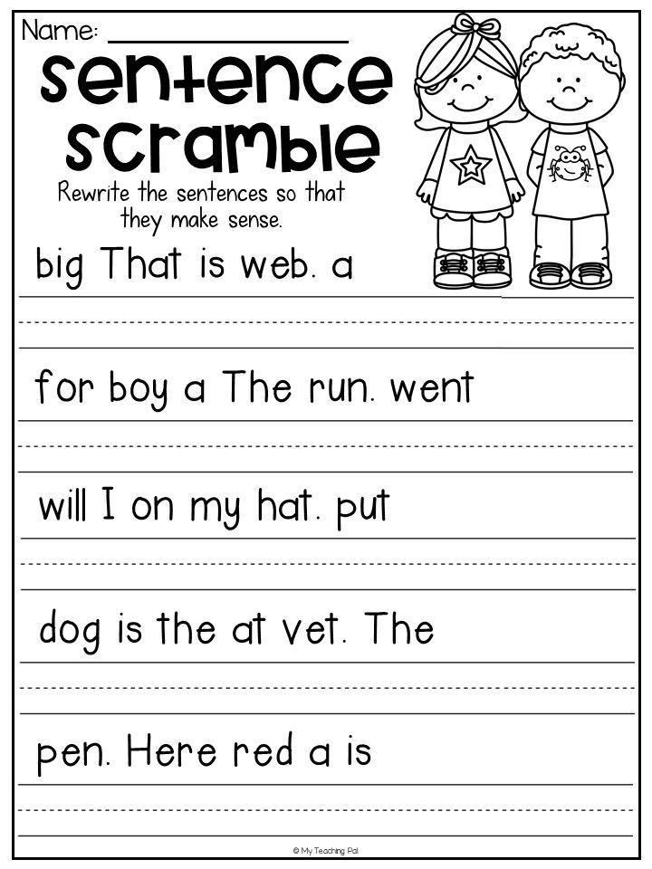 First Grade Sentence Writing Worksheets Sentence Scramble Worksheets Kindergarten Literacy Centers