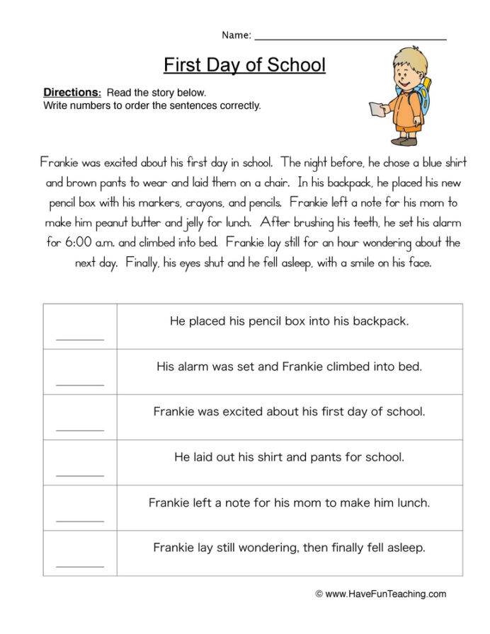 First Grade Sequencing Worksheets Plot order events Worksheet Have Fun Teaching Sequence