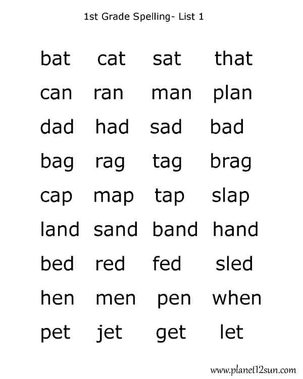 First Grade Spelling Words Worksheets 1st Grade Spelling Words List 1 with Images