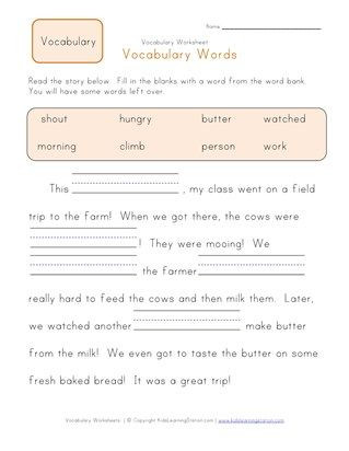 First Grade Vocabulary Worksheets 1st Grade Fill In the Blanks Vocabulary Worksheet