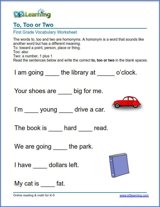 First Grade Vocabulary Worksheets Grade 1 Vocabulary Worksheet Use Of to too or Two