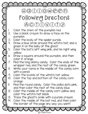 Following Directions Coloring Worksheet 5 Easy Activities for Your October Sub Folder