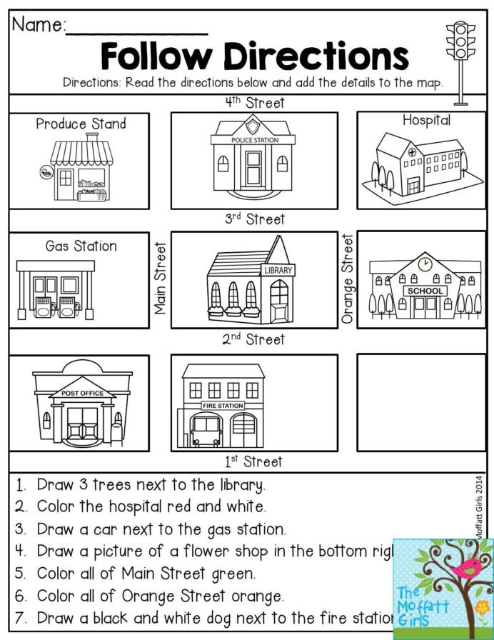 Following Directions Coloring Worksheet Following Directions Coloring Worksheet Have Fun Teaching