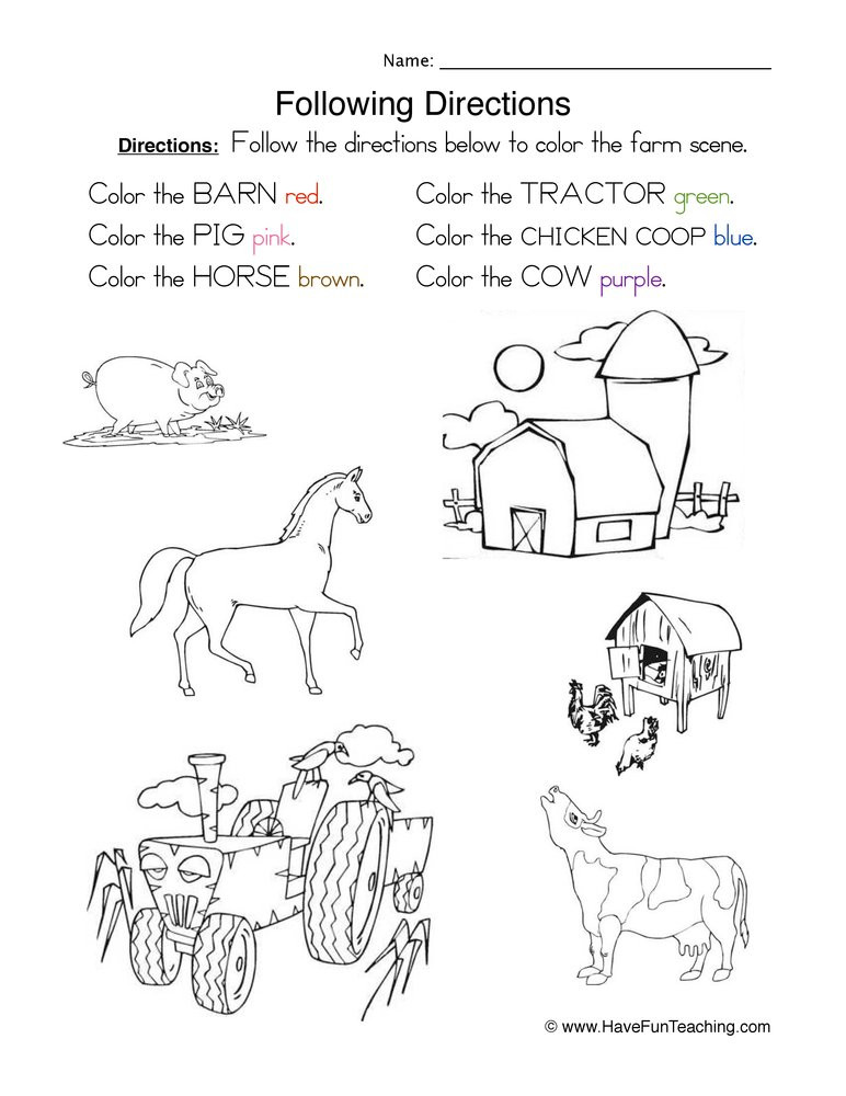 Following Directions Coloring Worksheet Following Directions Coloring Worksheet
