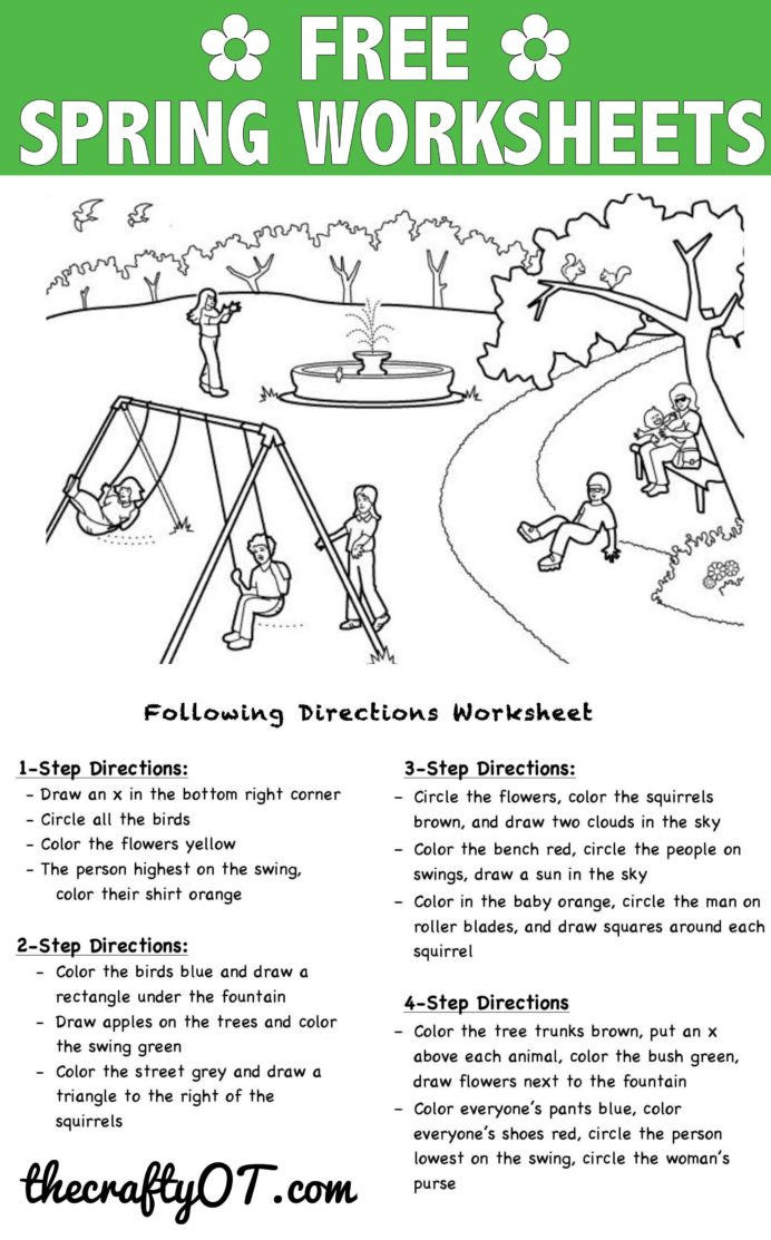 Following Directions Coloring Worksheet Following Directions Worksheets Activities Goals and More