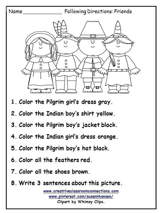 Following Directions Coloring Worksheet Free Collection Thanksgiving Math Worksheets Grade for