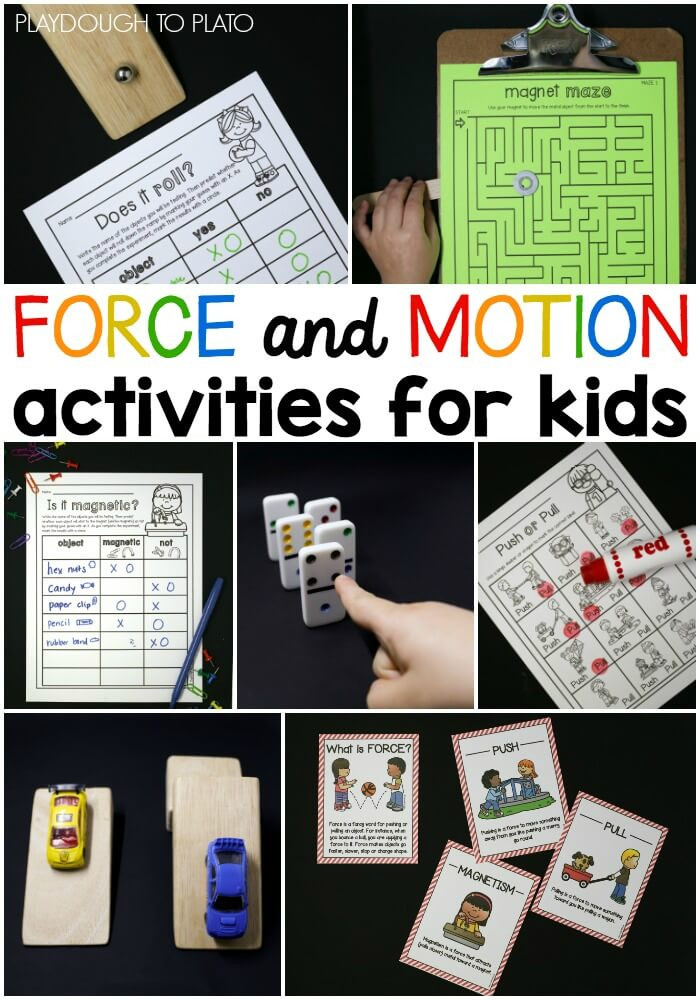 Force and Motion Kindergarten Worksheets force and Motion Activity Pack Playdough to Plato