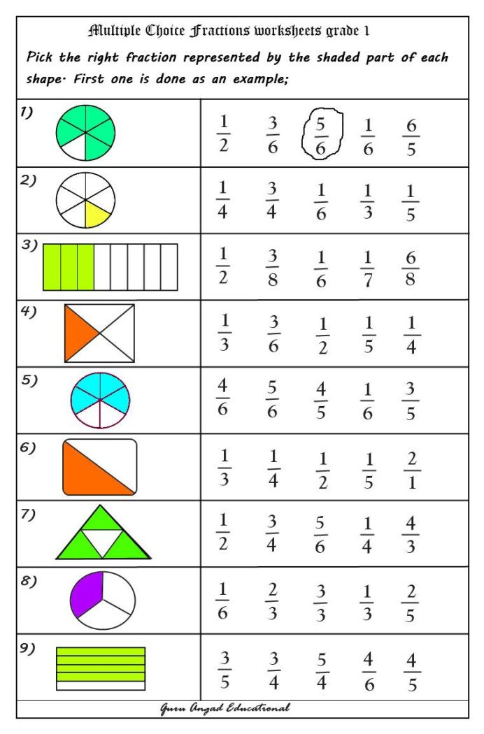Fractions Worksheets First Grade Free Math Worksheets Fractions for 2nd Grade Worksheet