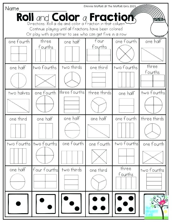 Fractions Worksheets First Grade Worksheets for First Grade Math First Grade Math First Grade