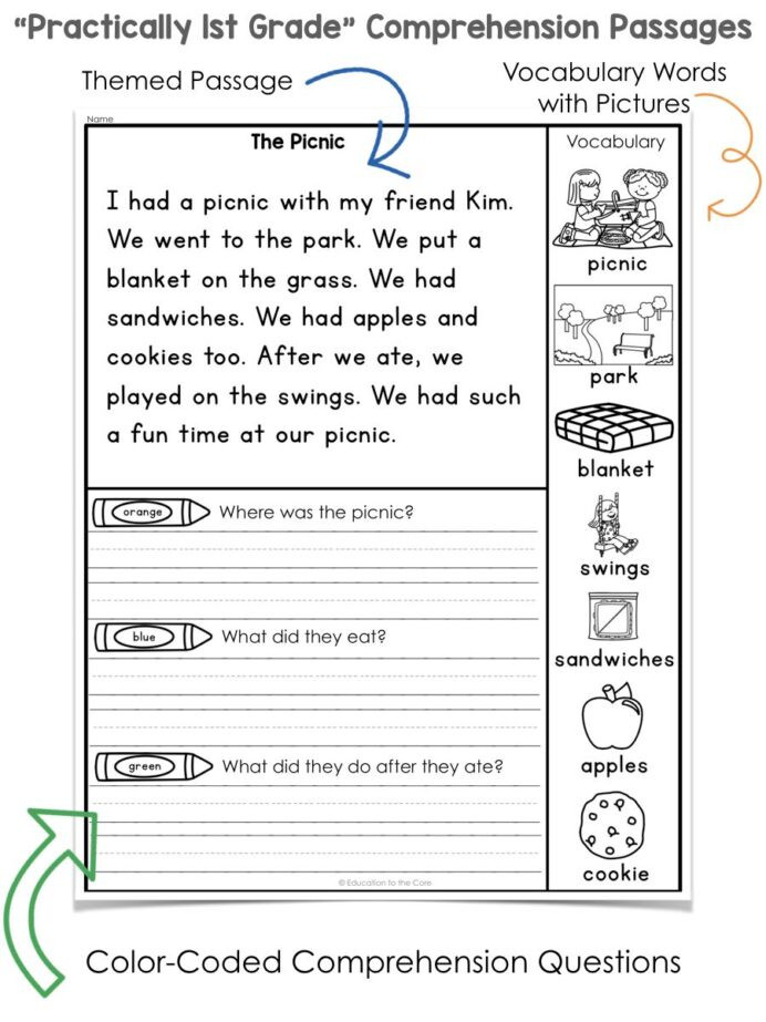 Free 1st Grade Comprehension Worksheets Practically 1st Grade Reading Prehension Passages and