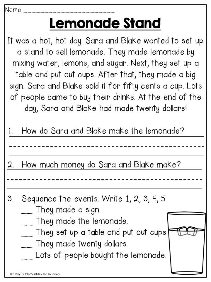 Free 1st Grade Comprehension Worksheets Summer First Grade Review Printables