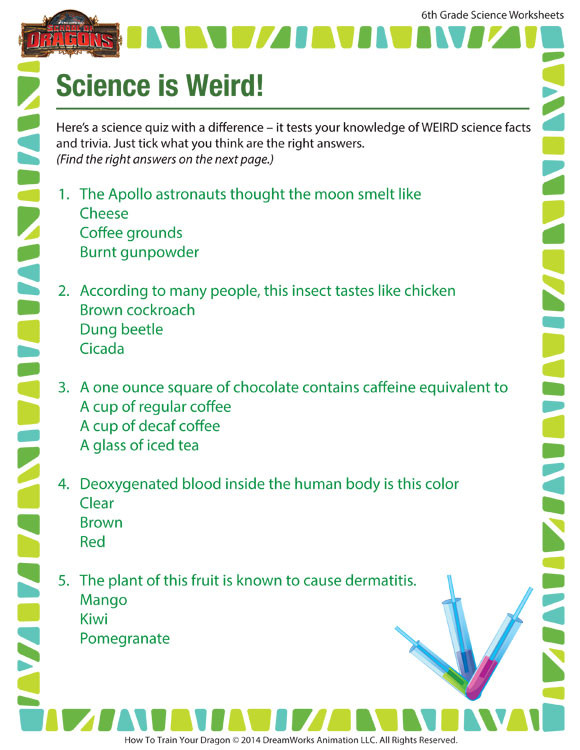 Free 6th Grade Science Worksheets Science is Weird View – Science Worksheet for 6th Grade – sod