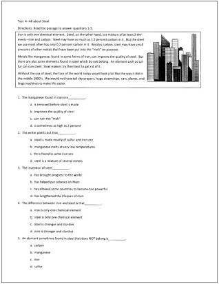Free 7th Grade Reading Worksheets 7th Grade Reading Test with Answer Key