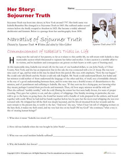 Free 7th Grade Reading Worksheets African American History Month Activities