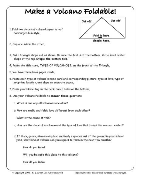 Free 8th Grade Science Worksheets Make A Volcano Foldable 5th 8th Grade Worksheet Lesson Pla
