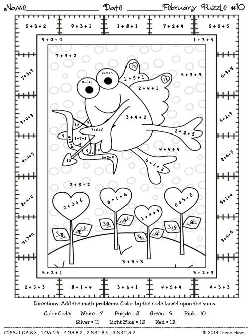 Free Addition Coloring Worksheets Fabulous February Fun Winter Math Printables Color by the