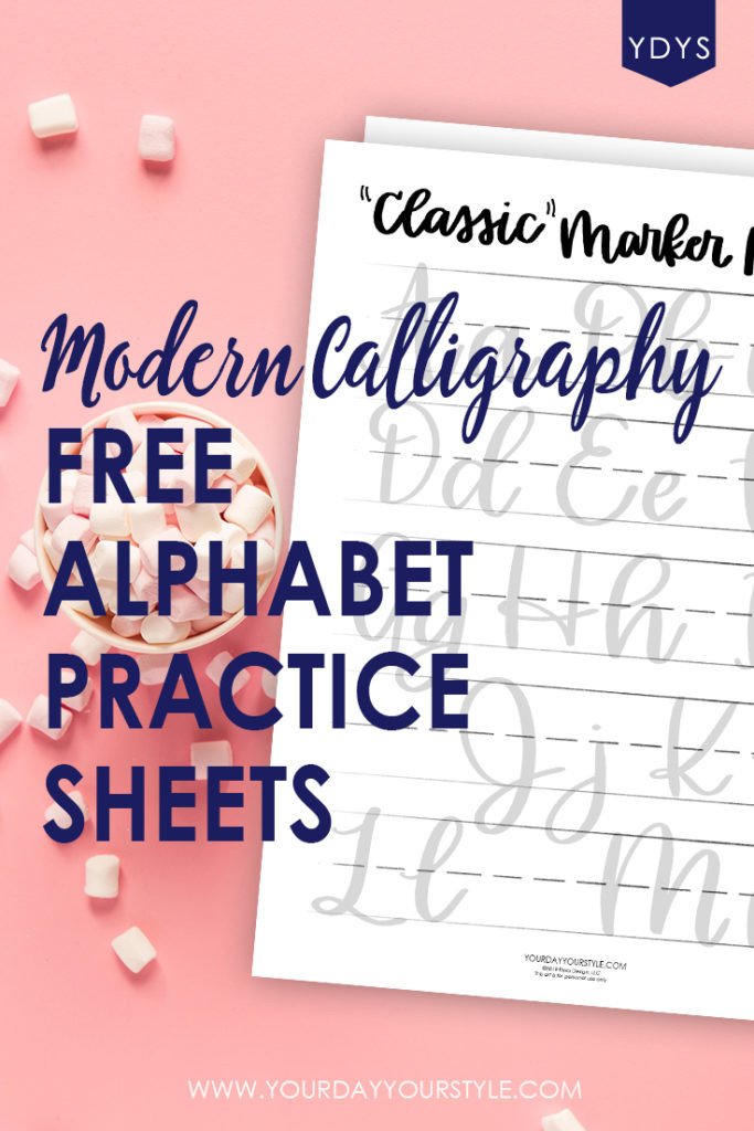 Free Calligraphy Worksheets Printable Printable Modern Calligraphy Alphabet Practice Sheets