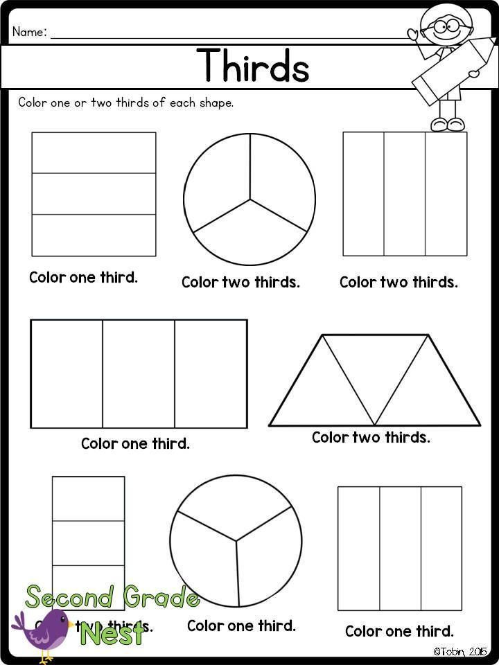 Free First Grade Fraction Worksheets Fractions Printables