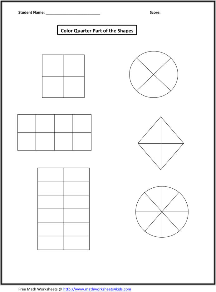 Free First Grade Fraction Worksheets Wk Halves and Quarters Shapes Numbers Lessons Tes Teach
