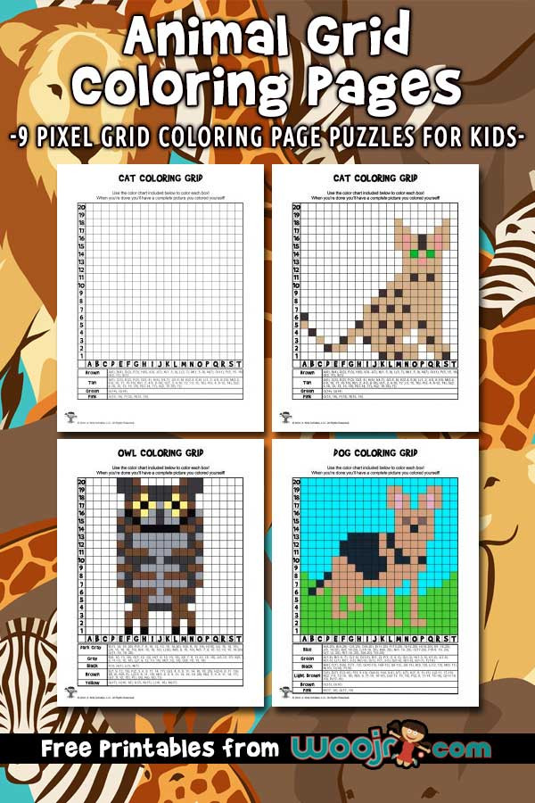 Free Grid Coloring Worksheets Animal Grid Coloring Pages