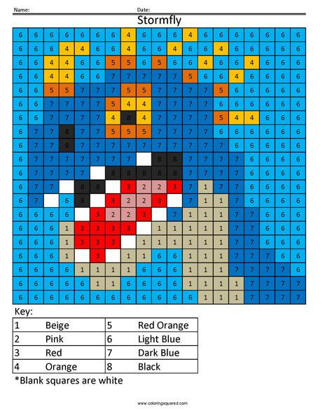 Free Grid Coloring Worksheets Cartoon Color by Number
