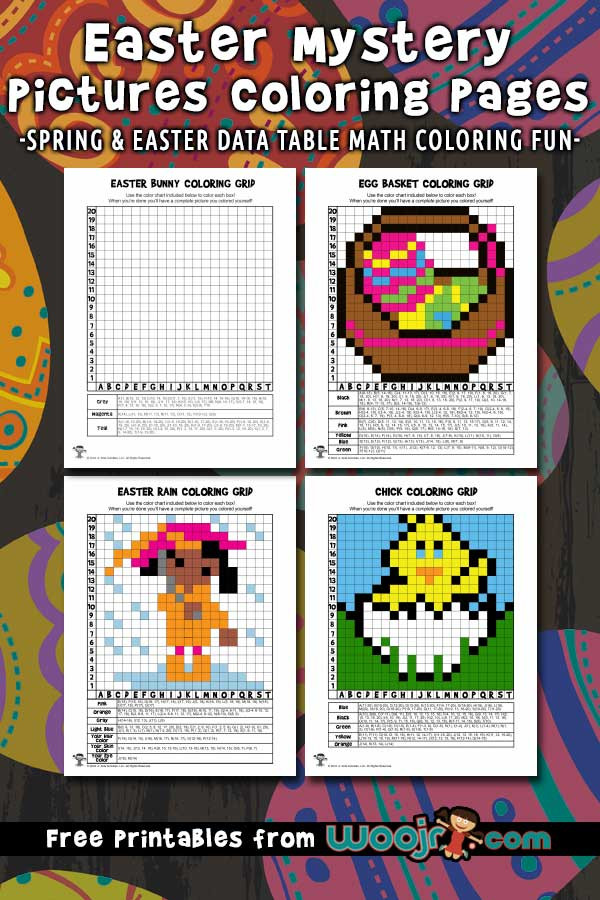 Free Grid Coloring Worksheets Spring and Easter Mystery Grid Coloring Pages