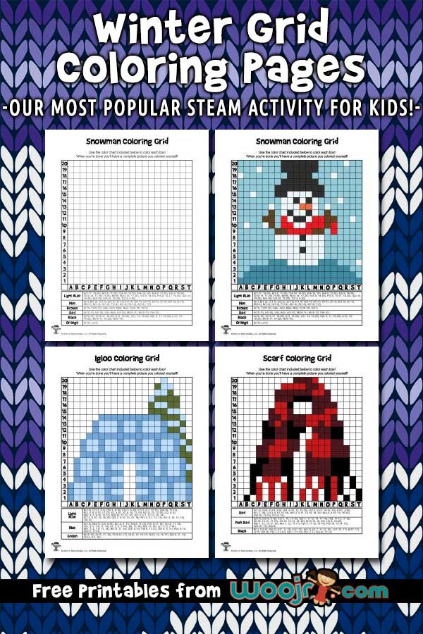 Free Grid Coloring Worksheets Winter Grid Coloring Pages