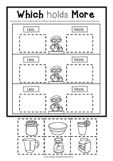 Free Measurement Worksheets Grade 1 Capacity Non Standard Measurement for Kindergarten Grade