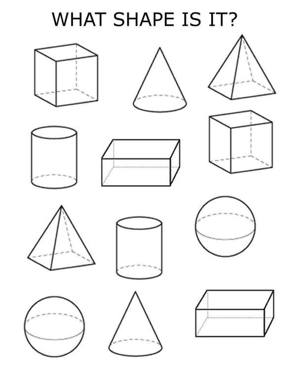 printable worksheet 3d shapes 2nd grade
