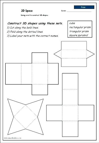 "Free Printable 3d Shapes Worksheets 3d Shapes Nets Worksheets لم يسبق له Ù…Ø ÙŠÙ"" الصور Tier3"
