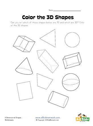 Free Printable 3d Shapes Worksheets Color the 3d Shapes Worksheet