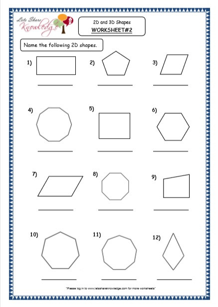 Free Printable 3d Shapes Worksheets Grade 4 Maths Resources 8 2 Geometry 2d and 3d Shapes
