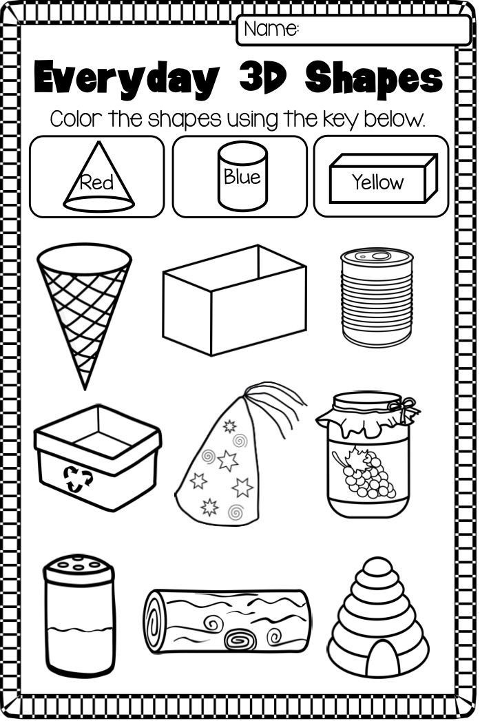 Free Printable 3d Shapes Worksheets Identify 2 D and 3 D Shapes Worksheets