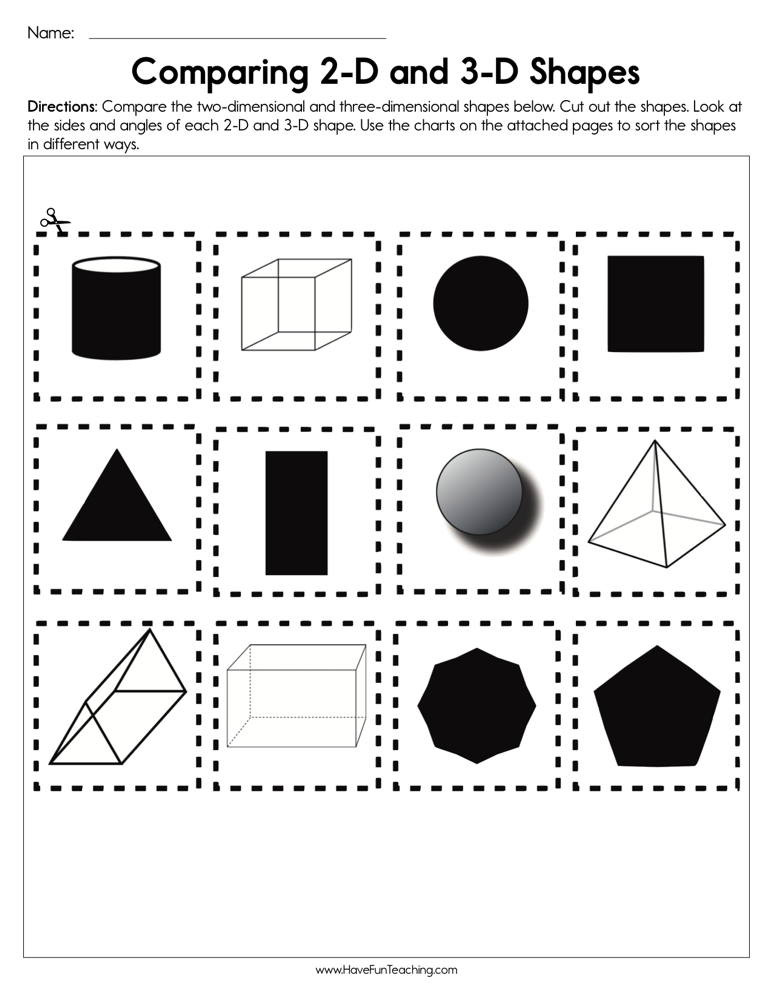 Free Printable 3d Shapes Worksheets Paring 2d and 3d Shapes Worksheet