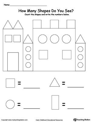 Free Printable 3d Shapes Worksheets Recognize and Count the Shapes In the Castle