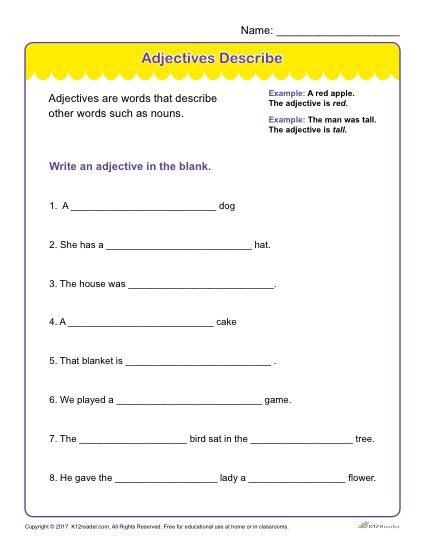 Free Printable Adjective Worksheets Adjectives Describe