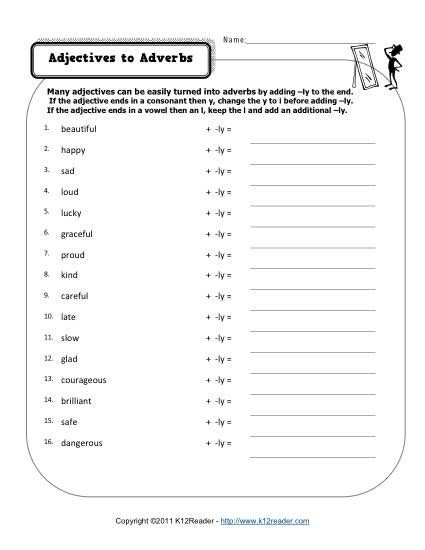 Free Printable Adjective Worksheets Changing Adjectives to Adverbs