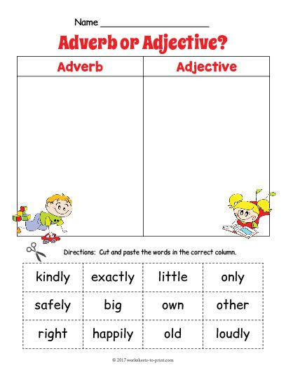 Free Printable Adjective Worksheets Free Printable Adjective Adverb sort Worksheet 2
