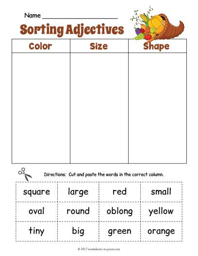Free Printable Adjective Worksheets Free Printable Cornucopia Adjective sorting Worksheet